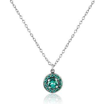 NOBEL SCHMUCK Kette Silber Türkis mit Kristallen von Swarovski® Silber