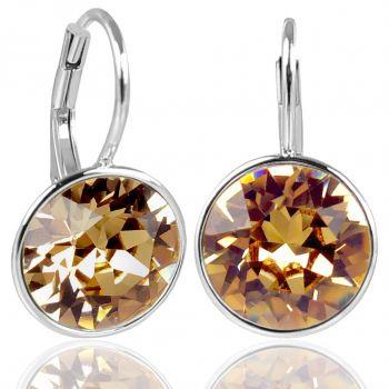 NOBEL SCHMUCK Silber-Ohrringe 925 Sterling Silber mit Kristallen von Swarovski®  - schlicht modern