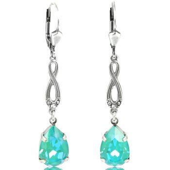 Jugendstil Ohrringe mit Kristallen von Swarovski® Silber Laguna Delite NOBEL SCHMUCK