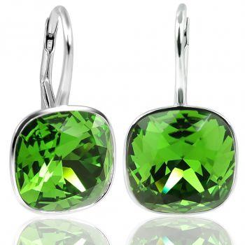 925 Silberohrringe mit Kristallen von Swarovski Grün NOBEL SCHMUCK