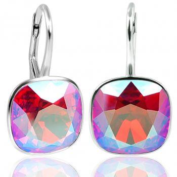 Ohrringe 925 Silber Pink Rot mit Kristalle von Swarovski® Light Siam Shimmer NOBEL SCHMUCK