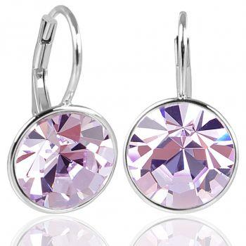 NOBEL SCHMUCK Silber-Ohrringe Violett mit Kristallen von Swarovski® 925 Silver