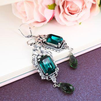 Jugendstil Ohrringe Kristalle von Swarovski® Silber Grün NOBEL SCHMUCK