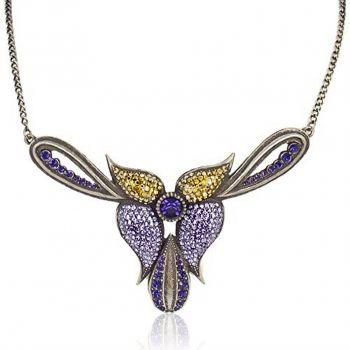 Statement-Kette Halskette Orchidee Kristall Gold Lila Violett NOBEL SCHMUCK
