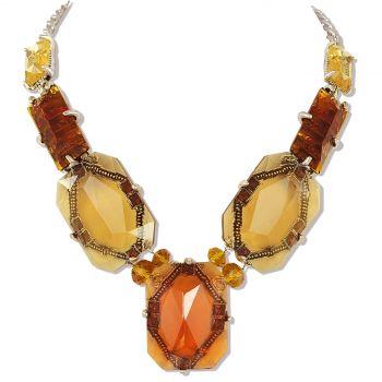 Statement-Kette Silber Braun Chocker Opulente Halskette NOBEL SCHMUCK