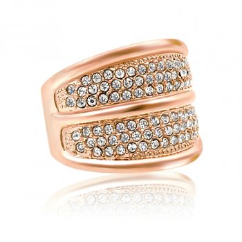 Damen-Ring Rosegold mit Kristallen von Swarovski® Breit NOBEL SCHMUCK