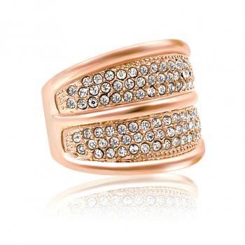 Damen-Ring Rosegold mit Markenkristallen Breit NOBEL SCHMUCK