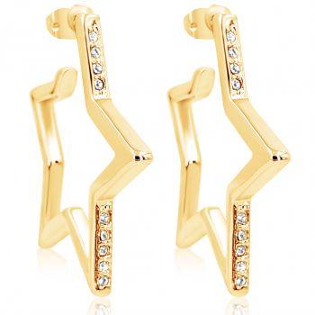 Stern Creolen Ohrringe mit Kristallen von Swarovski® Gold NOBEL SCHMUCK