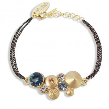 Damen-Armband Gold Blau Rose mit Kristallen von Swarovski® NOBEL SCHMUCK