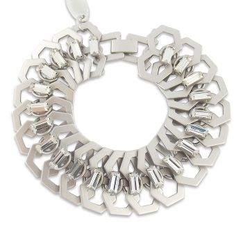 Silber-Armband Breit Kristalle von Swarovski® - Panzerarmband von NOBEL SCHMUCK