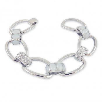 Armband Breit Gliederarmband Armschmuck Kristallen von Swarovski® Silber NOBEL SCHMUCK