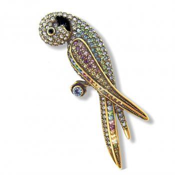 Brosche Papagei Vintagen mit Kristallen von Swarovski® 20er Jahre NOBEL SCHMUCK