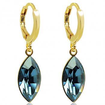 Creolen mit Kristallen von Swarovski® Blau Gold NOBEL SCHMUCK