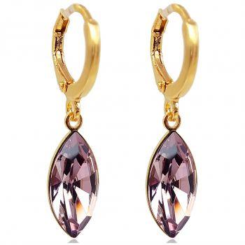 Creolen mit Kristallen von Swarovski® Mauve Gold NOBEL SCHMUCK