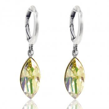 Creolen Ohrringe mit Kristallen von Swarovski® Grün Gelb Silber NOBEL SCHMUCK