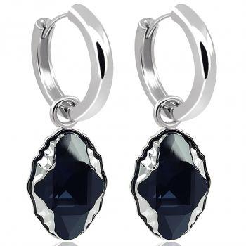 Creolen Kristalle von Swarovski® 925 Sterling Silber Schwarz NOBEL SCHMUCK
