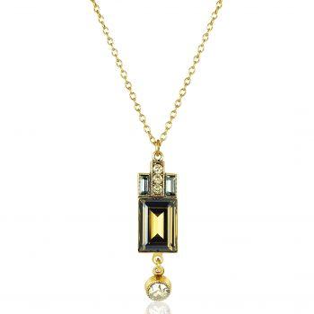 Artdeco Kette Gold Braun mit Kristallen von Swarovski® Smoky Quarz NOBEL SCHMUCK