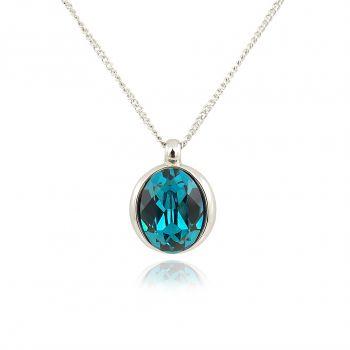 Kette mit Kristallen von Swarovski® Silber Blau Silber NOBEL SCHMUCK
