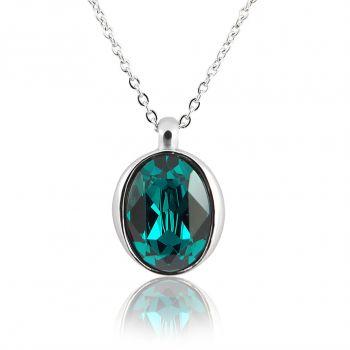 Kette mit Kristalle von Swarovski® Silber Grün Edelstahl Halskette NOBEL SCHMUCK