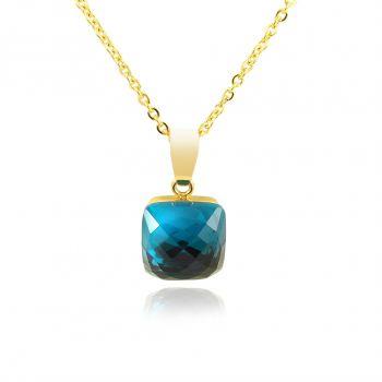 Kette mit Kristall von Swarovski® Blau Gold Damen Halskette NOBEL SCHMUCK
