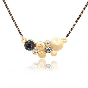 Kette mit Kristallen von Swarovski® Gold Blau Damen Halskette NOBEL SCHMUCK