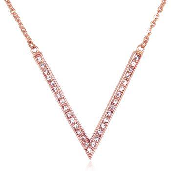 Kette Kristalle von Swarovski® Buchstabe V Rosegold Halskette NOBEL SCHMUCK