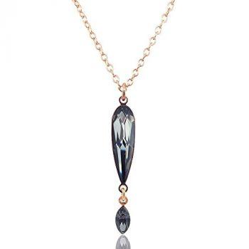 Rosegold Kette mit Kristallen von Swarovski® Halskette Schwarz NOBEL SCHMUCK