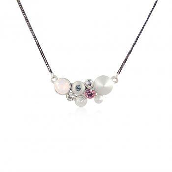 Kette Kristalle von Swarovski® Silber Rosa Blau NOBEL SCHMUCK