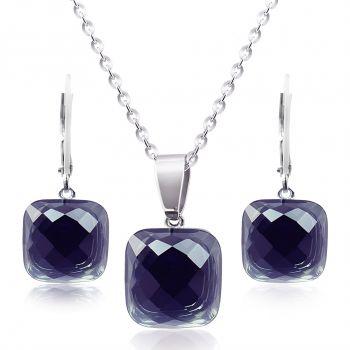Schmuckset Edelstahl Silber mit Kristallen von Swarovski® Schwarz NOBEL SCHMUCK