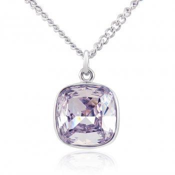 Lange Kette mit Kristall von Swarovski® Damen Halskette Silber Rosa Lila NOBEL SCHMUCK