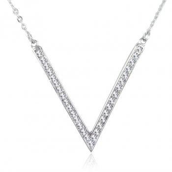 Kette mit Kristallen von Swarovski® Weiß Crystal Buchstabe V NOBEL SCHMUCK