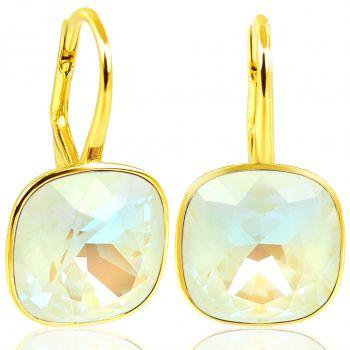 925 Goldohrringe Light Grey Delite mit Kristalle von Swarovski® NOBEL SCHMUCK