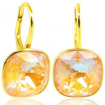 925 Goldohrringe Pfirsich mit Kristalle von Swarovski® Peach Delite NOBEL SCHMUCK