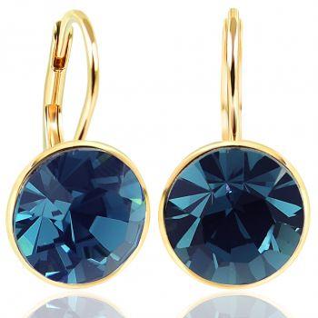NOBEL SCHMUCK Ohrringe Gold Blau mit Kristallen von Swarovski® 925 Sterling - schlicht modern