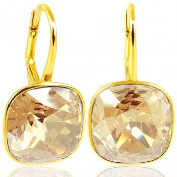 NOBEL SCHMUCK Ohrringe Gold mit Kristallen von Swarovski® 925 Sterling