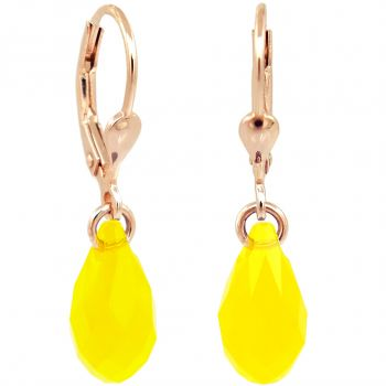 Ohrringe Rosegold Gelb Tropfen Swarovski® Kristalle 925 Sterling Silber NOBEL SCHMUCK