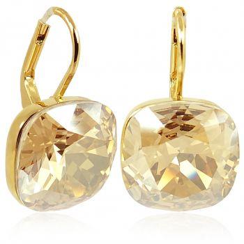 Goldene Kristall Ohrringe Damen kurze Ohrhänger mit Stein von NOBEL SCHMUCK