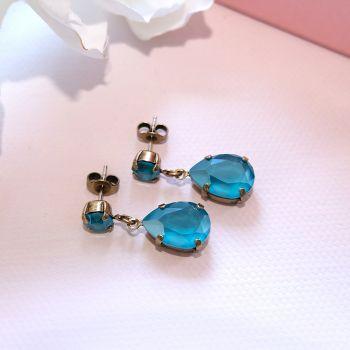 Goldene Ohrstecker Tropfen mit Kristallen von Swarovski® Blau Nobel Schmuck