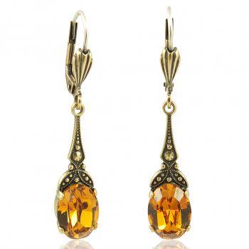 Jugendstil Ohrringe mit Kristallen von Swarovski® Gold Gelb Braun NOBEL SCHMUCK