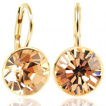 NOBEL SCHMUCK Ohrringe Gold Light Peach mit Kristallen von Swarovski® 925 Sterling - schlicht modern