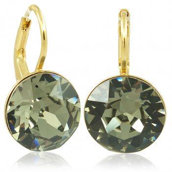 Ohrringe mit Kristalle von Swarovski® Grau Grün Gold NOBEL SCHMUCK