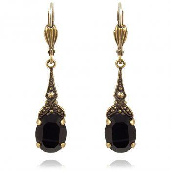 Jugendstil Ohrringe mit Kristallen von Swarovski® Gold Schwarz NOBEL SCHMUCK