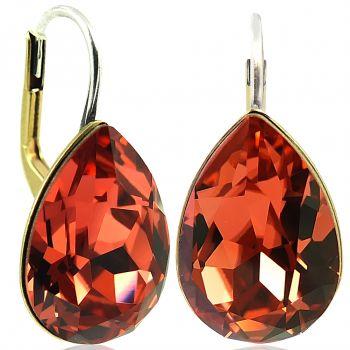 Ohrringe Orange mit Kristallen von Swarovski® Gold Koralle NOBEL SCHMUCK