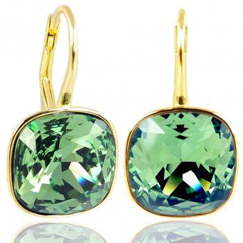 NOBEL SCHMUCK Ohrringe Gold Grün mit Kristallen von Swarovski® 925 Silber