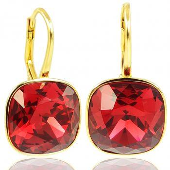 NOBEL SCHMUCK Ohrringe Gold Rot mit Kristallen von Swarovski® 925 Sterling