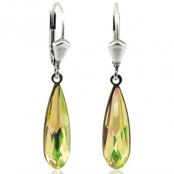 Ohrringe mit Kristallen von Swarovski® Grün Gelb Silber NOBEL SCHMUCK