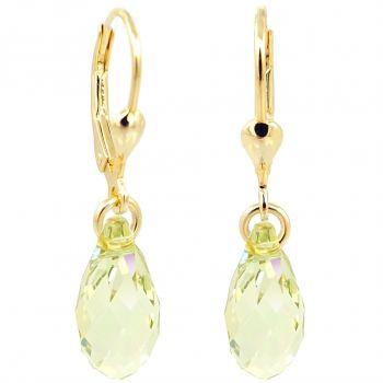Ohrringe Gold Grün Gelb Tropfen Swarovski® Kristalle 925 Sterling Silber NOBEL SCHMUCK