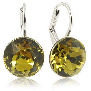 Ohrringe mit Kristallen von Swarovski® Grün Silber Khaki NOBEL SCHMUCK