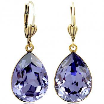Ohrringe Lila Gold mit Kristallen von Swarovski® Tropfen NOBEL SCHMUCK