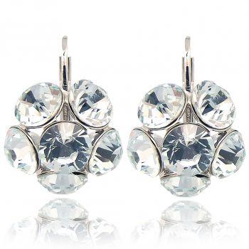 Blüten-Ohrringe mit Kristallen von Swarovski® Silber Viele Farben NOBEL SCHMUCK